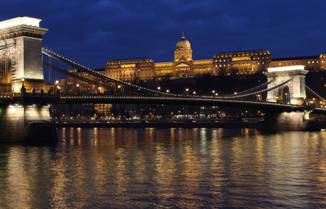 Budapest panorama with Chain-bridge stock photo
